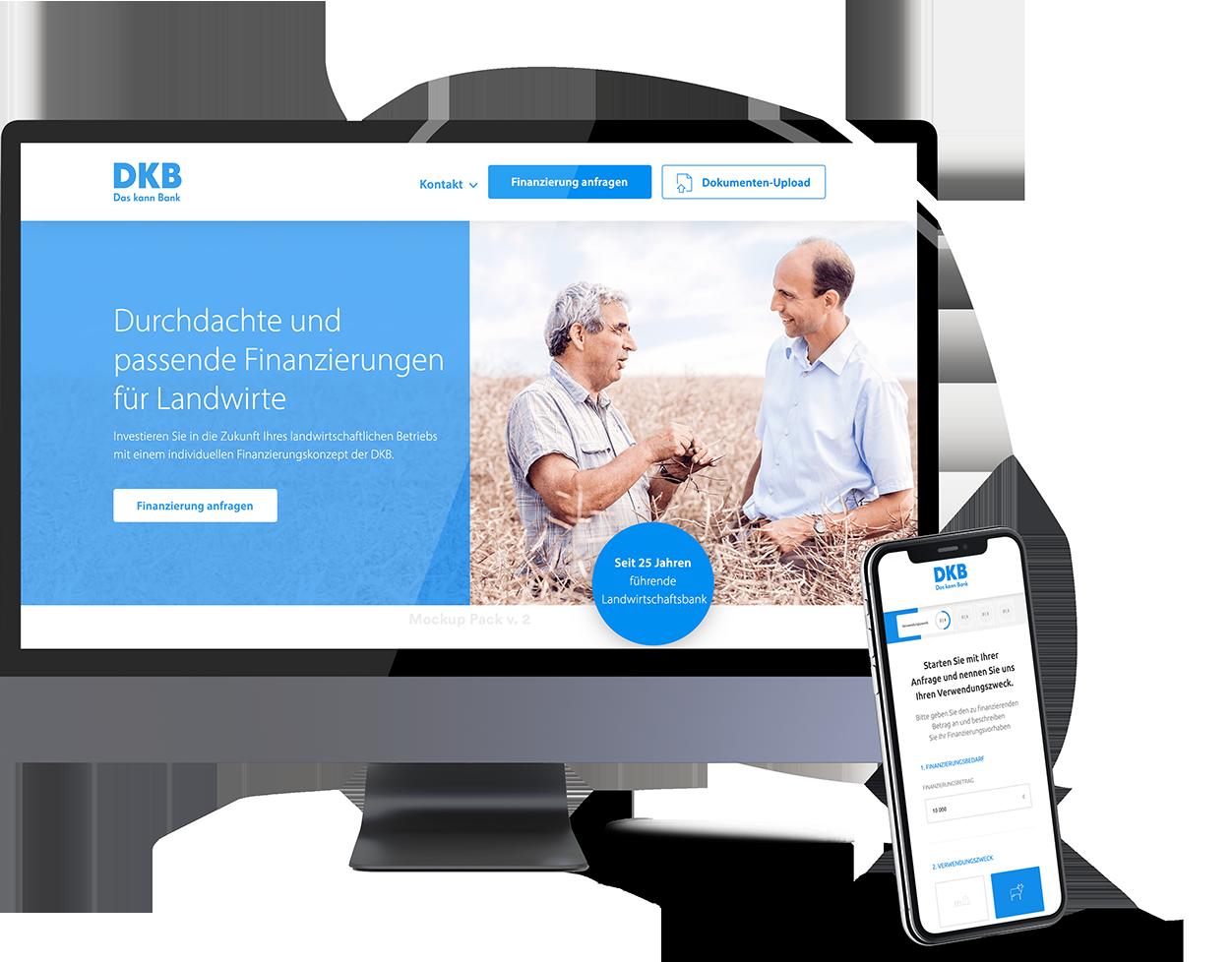 Deutsche Kreditbank AG Landingpage auf mobile und Desktop