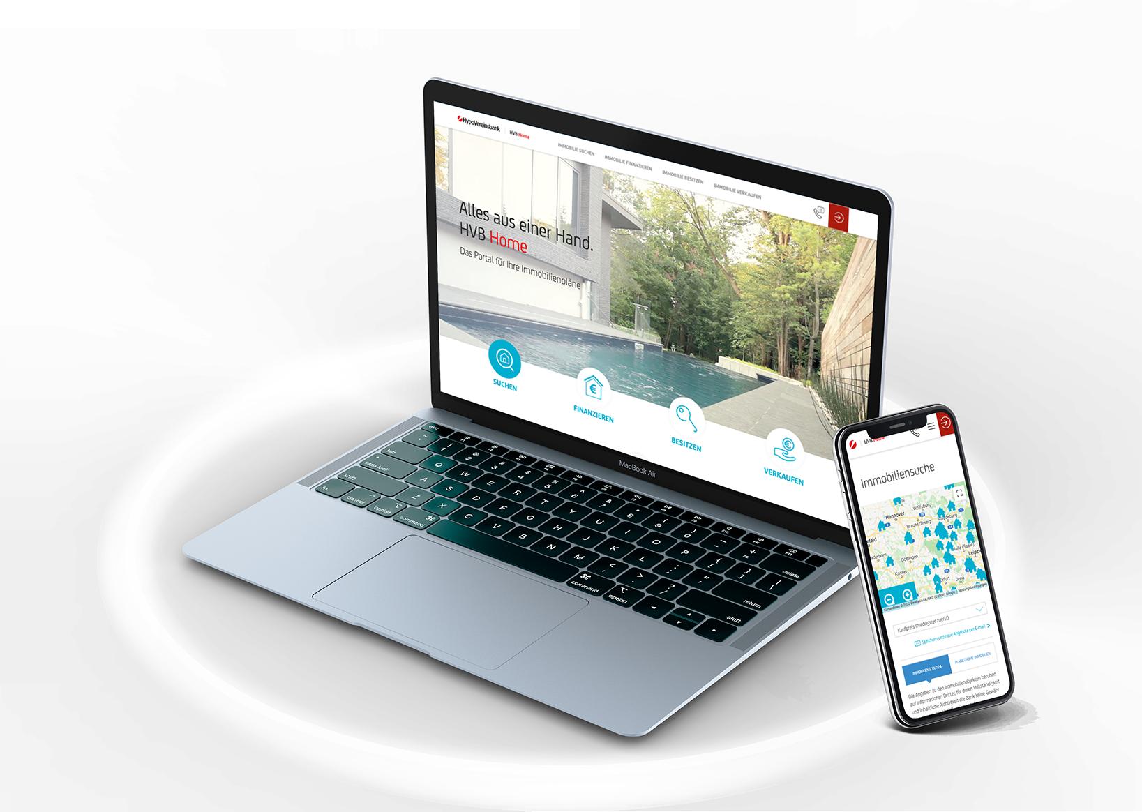 HypoVereinsbank Landingpage auf mobile und Desktop