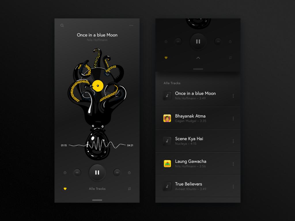Mobile App mit Neomorphism bzw Neumorphismus