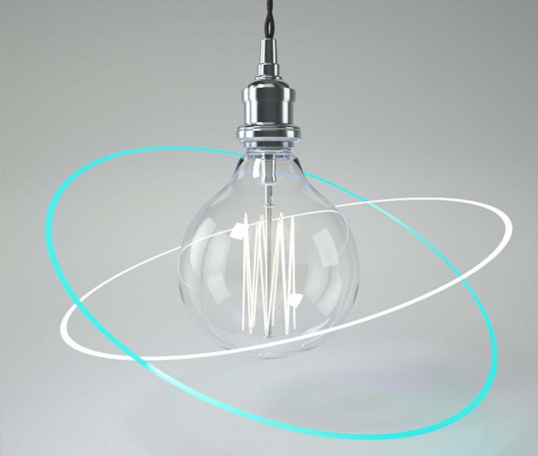 Gestaltung & Design. – eine Glühbirne wird von zwei neon-farbenen Ringen umkreist