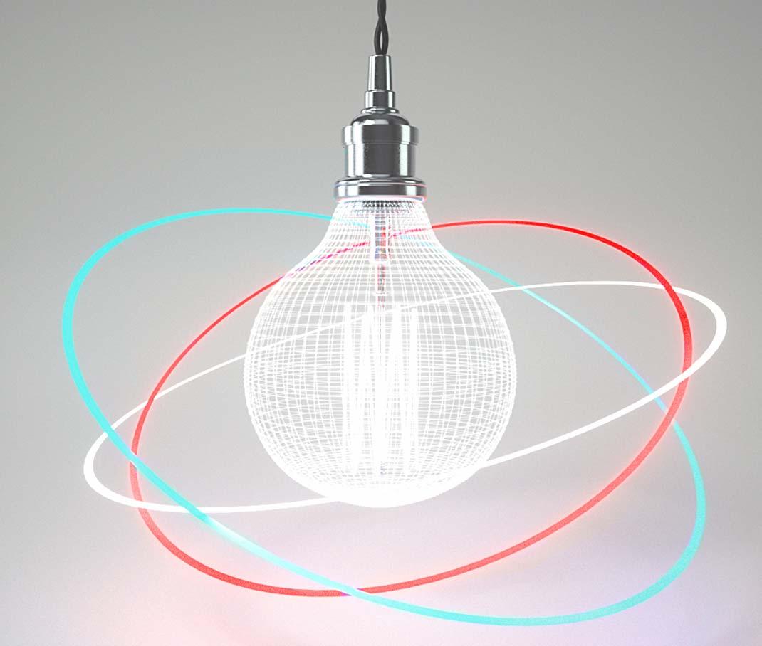 Umsetzung & Entwicklung. – eine Glühbirne wird von drei leuchtenden Ringen umkreist, ummantelt von einem glühenden mit einem 3D-Gitter