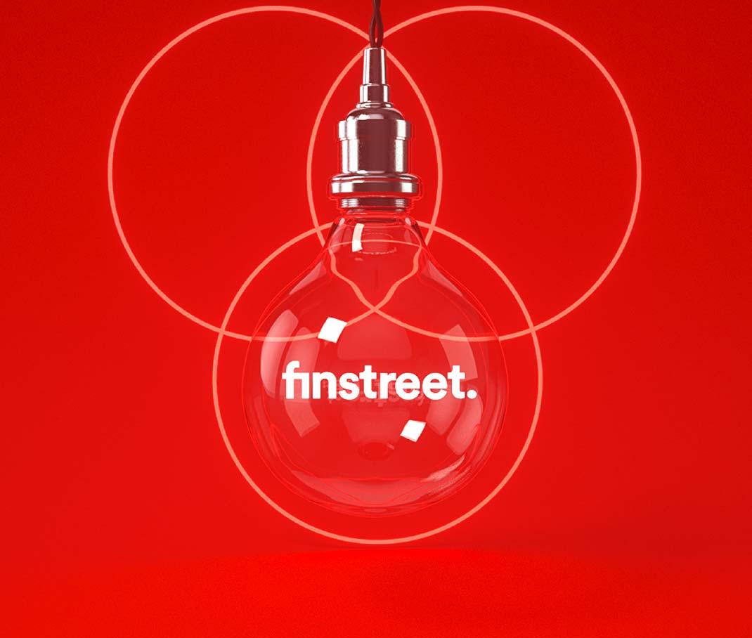 Launch & Vermarktung. – in einer Glühbirne leuchtet das finstreet-Logo, drei Kreise im Hintergrund symbolisieren die Unternehmensbereiche