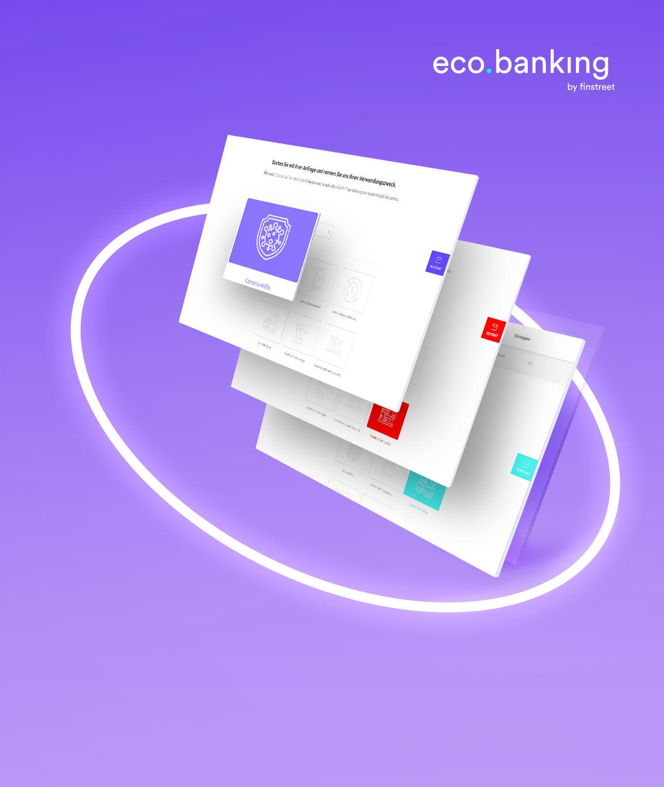 Um Screens der Anfragestrecke eco.banking by finstreet legt sich ein weißer, leuchtender Kreis auf lilafarbenem Hintergrund