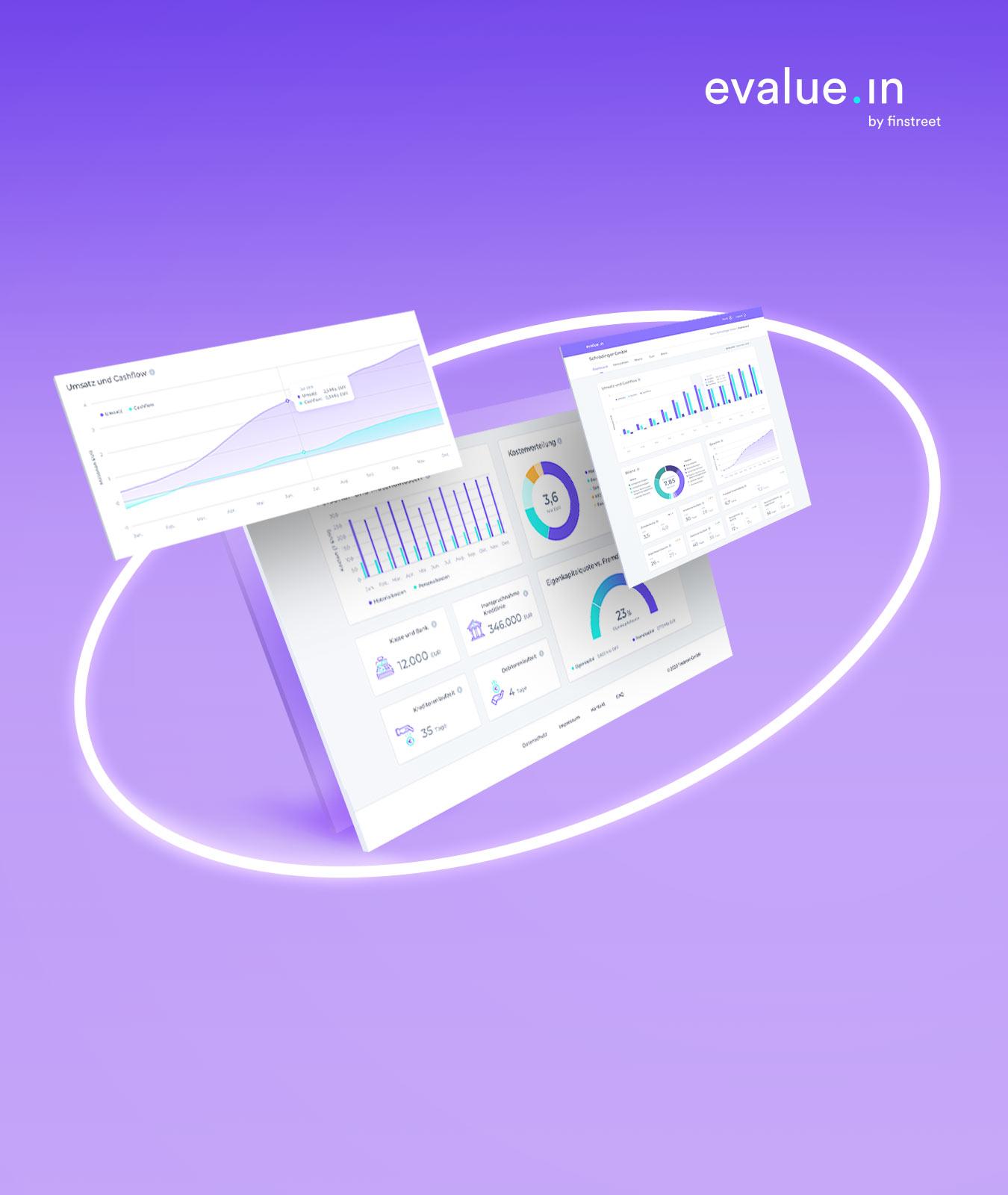 Um das Dashboard und Screens der Anwendung evalue.in by finstreet legt sich ein weißer, leuchtender Kreis auf lilafarbenem Hintergrund