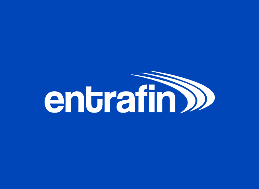entrafin Logo auf blauem Grund