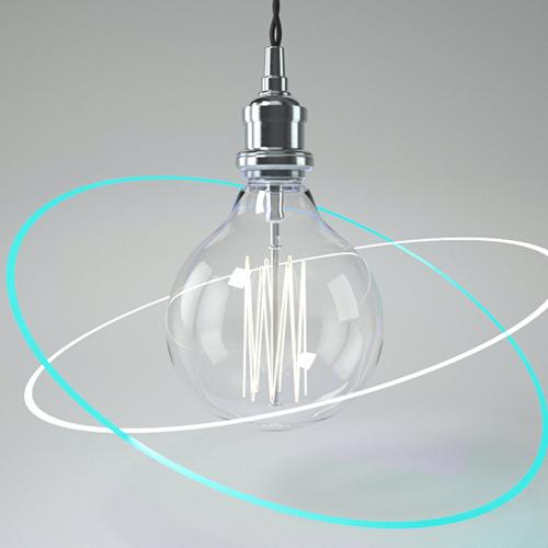 ausgeschaltete Glühbirne umkreis von zwei neonleuchtenden Ringen auf grauem Grun