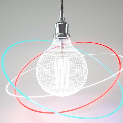 leuchtende Glühbirne umkreis von drei neonleuchtenden Ringen auf grauem Grun