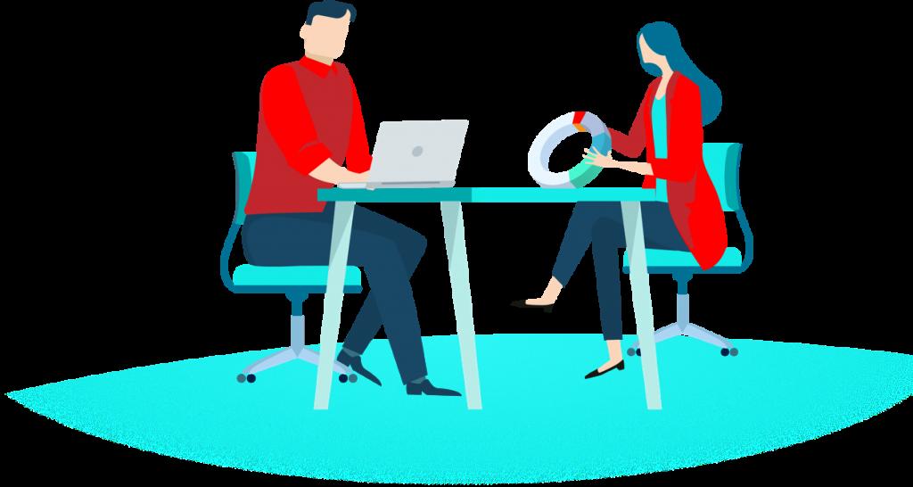 Geschäftsmann und Geschäftsfrau in einer Besprechung