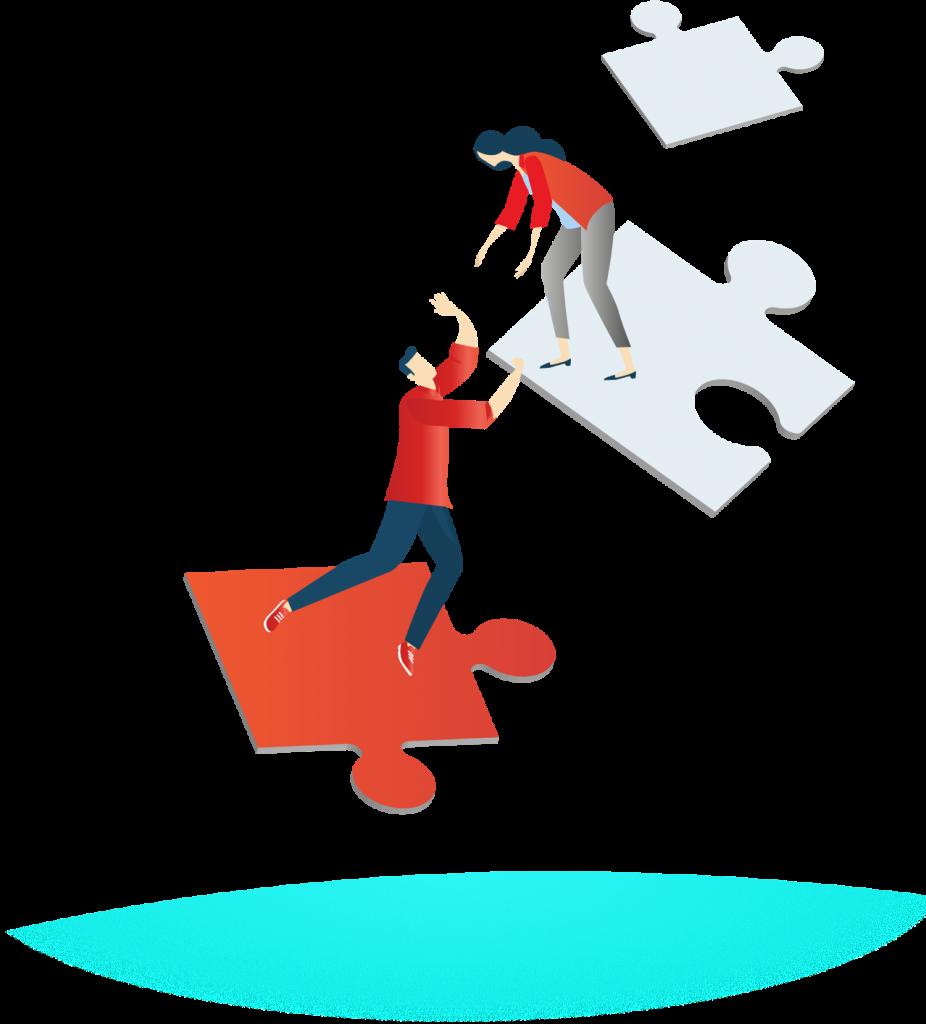 Zwei Personen helfen sich beim Erklettern von Puzzle-Teilen