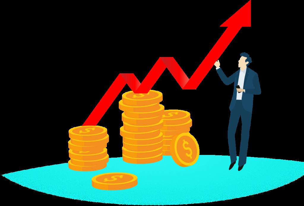 Mann im Anzug zeigt steigende Kurve über Stapeln von Münzen