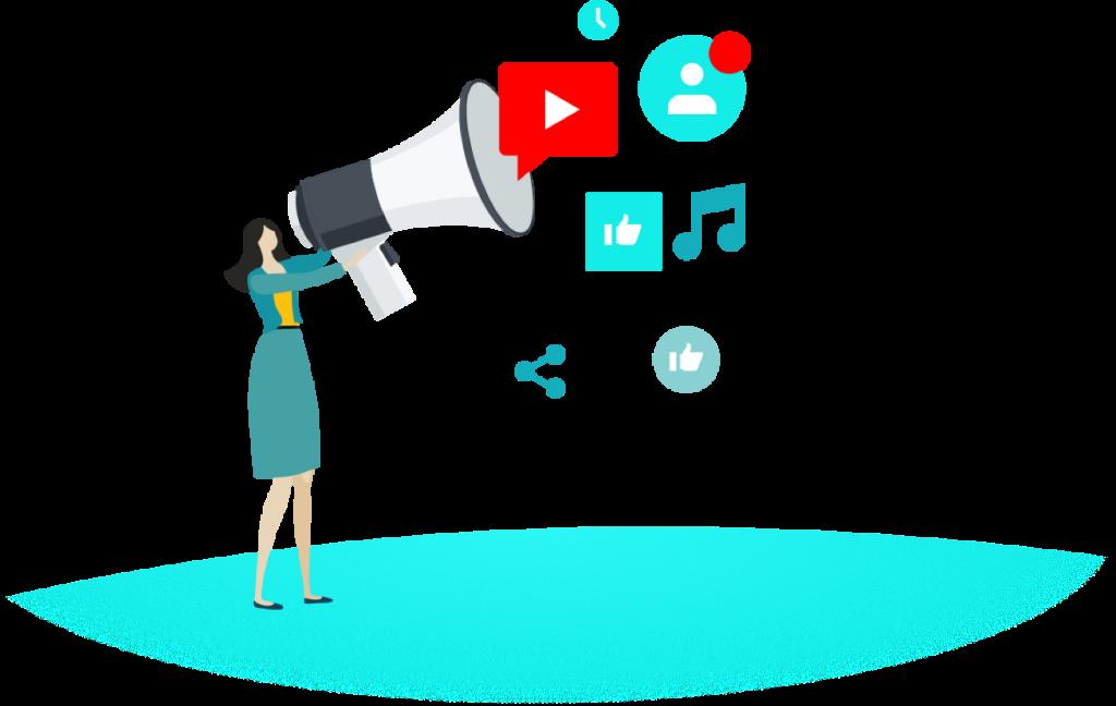 Person hält ein Megaphone hoch, aus dem Marketing-bezogene Icons fliegen