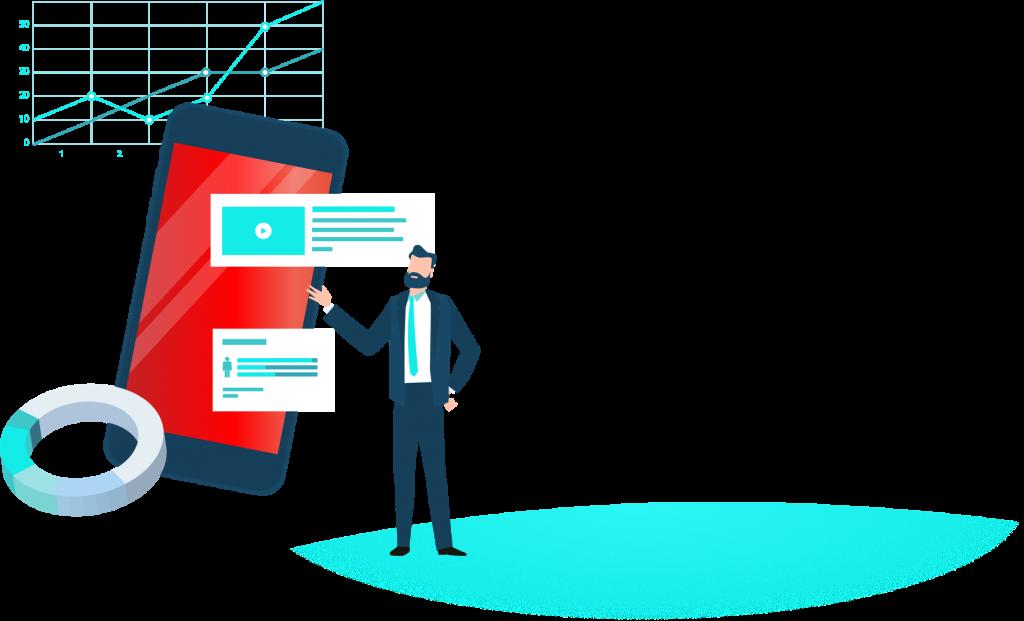 Geschäftsmann erklärt mobile App