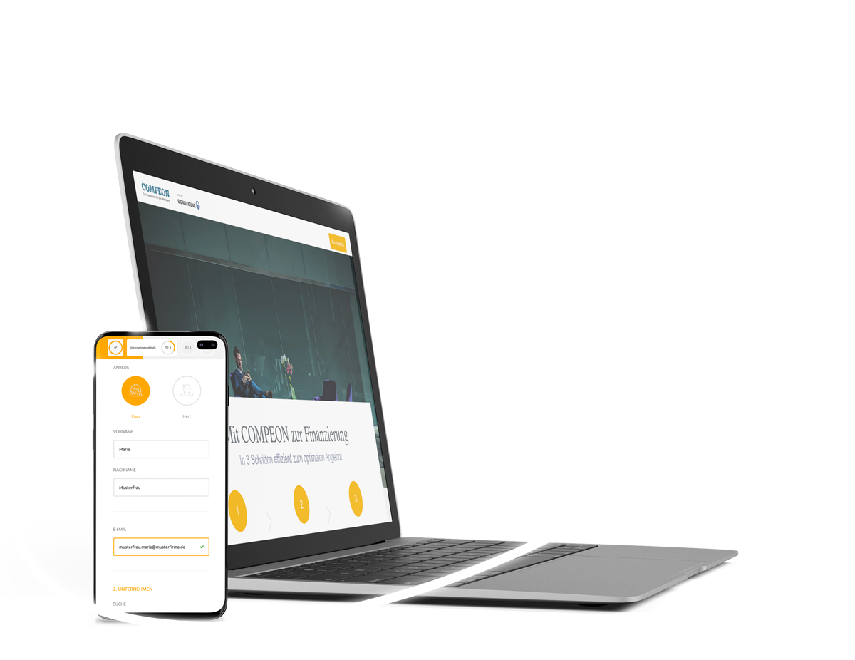 Signal Iduna Landingpage und Anfragestrecke mobile und auf Desktop