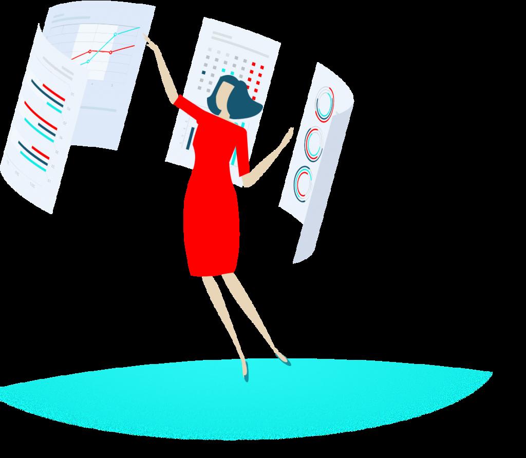 Frau analysiert verschiedene Diagramme