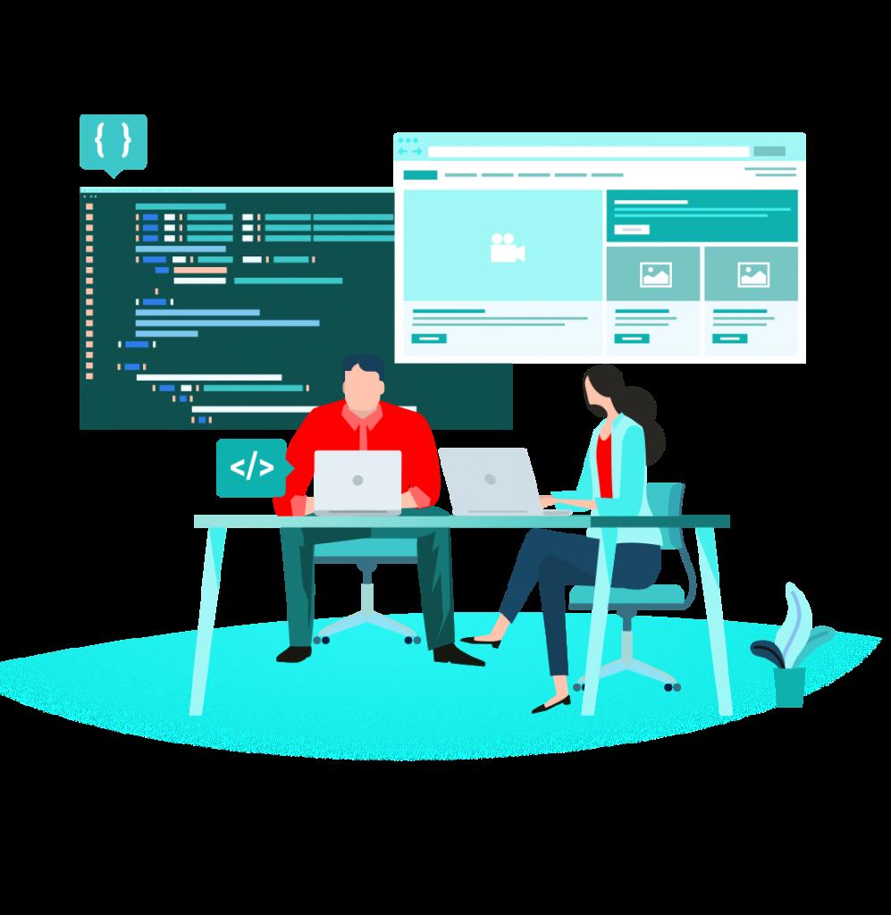 zwei Personen erarbeiten Screen Design und Code einer Anwendung