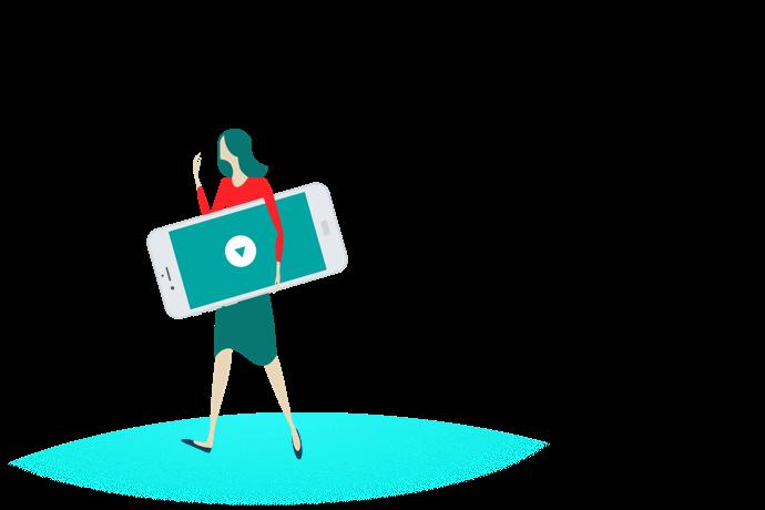 Frau trägt ein Smartphone