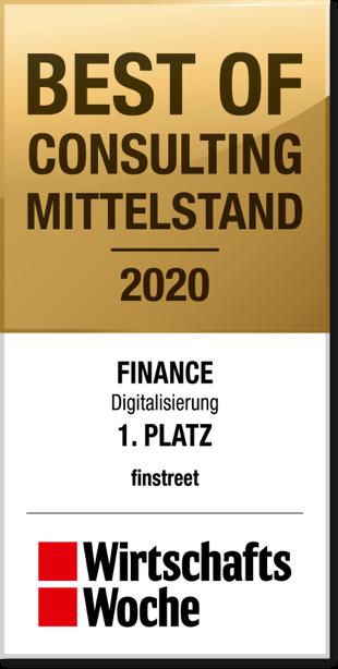 Best of consulting Mittelstand 2020 Finance Dititalisierung 1. Platz finstreet Wirtschaftswoche