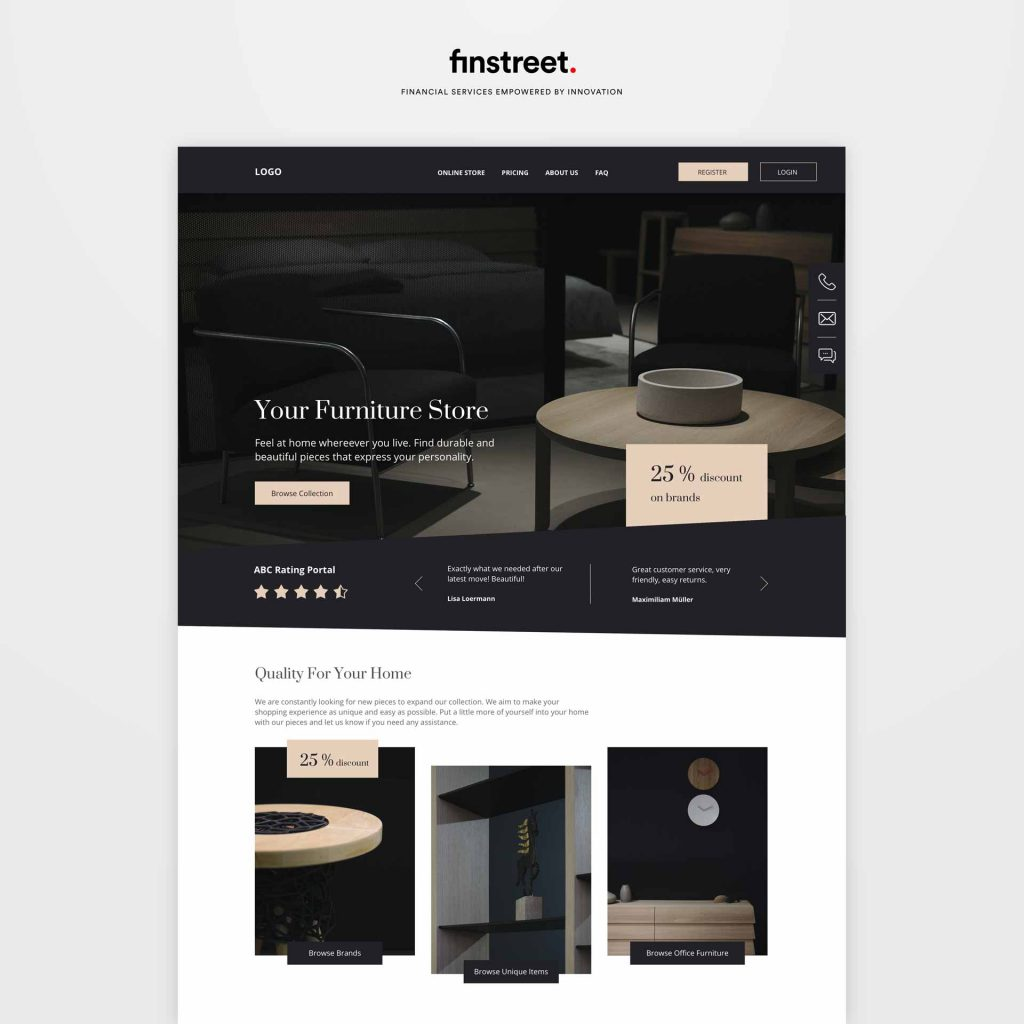 Mockup Webseite Möbelhaus mit hochpreisigen Produkten