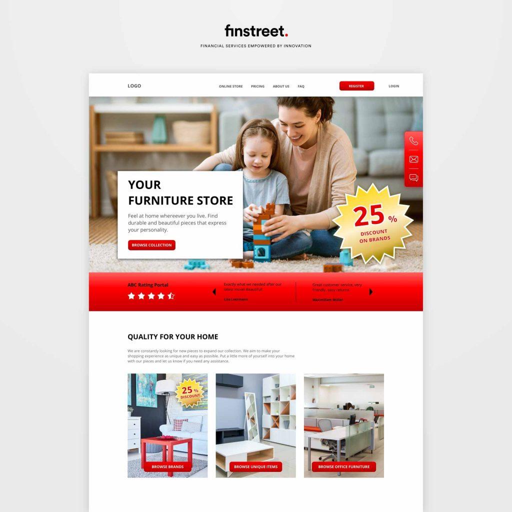 Mockup Webseite Möbelhaus mit günstigen Produkten