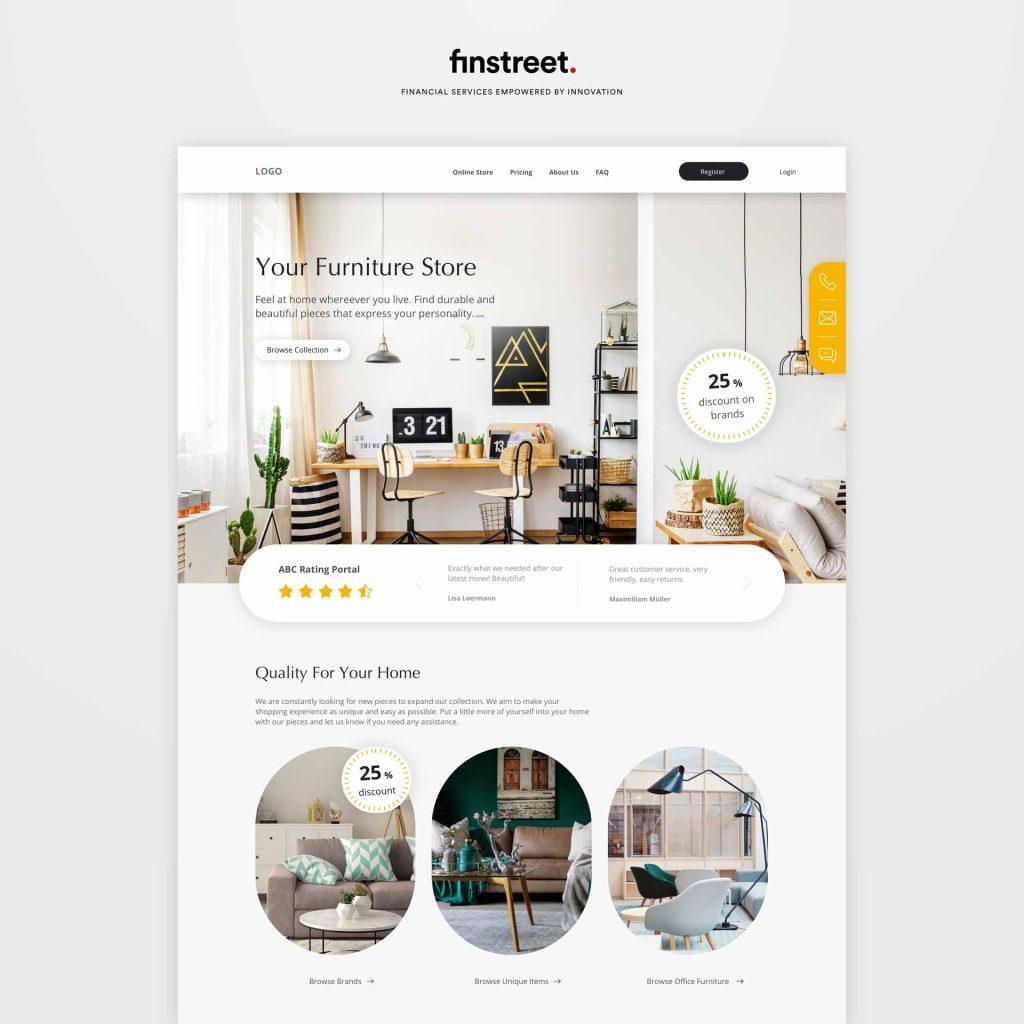 Mockup Webseite Möbelhaus mit modernen Produkten