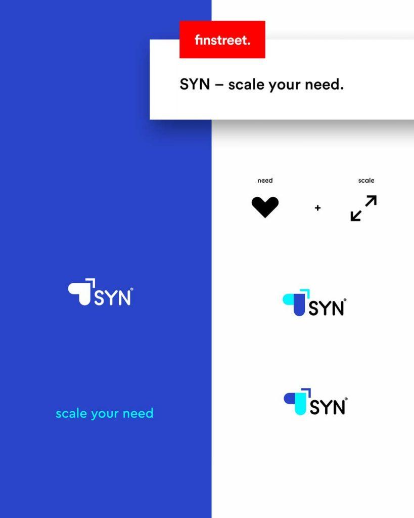 Entwürfe des Logos für die Marke SYN – Scale Your Need