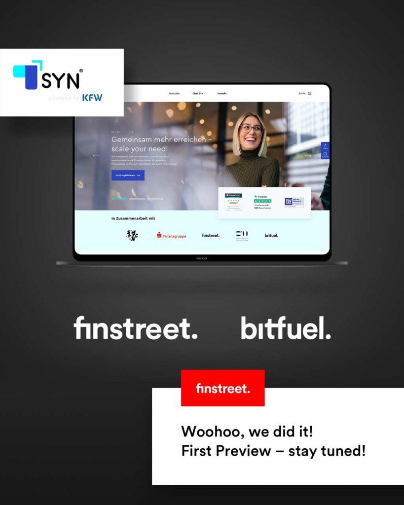 Bildschirm mit der Landingpage von SYN – Scale your need – entworfen von finstreet und bitfuel
