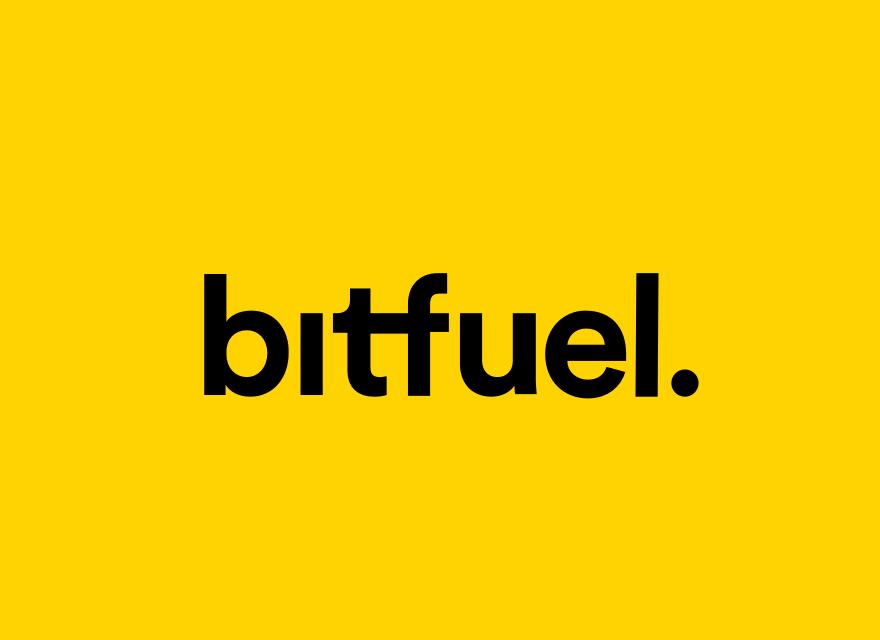 bitfuel logo auf gelbem grund