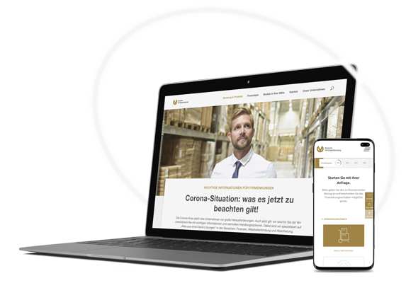 Deutsche Vermögensberatung Corona-Hilfe Landinpage auf mobile und Desktop