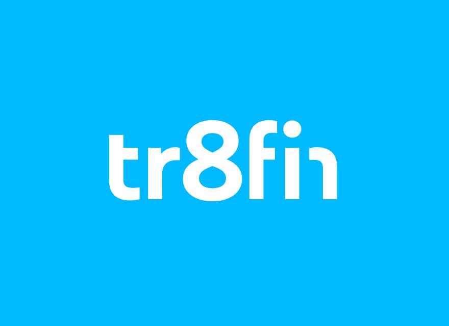 tr8fin Logo auf blauem Grund